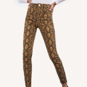 Zara | NEW High Rise Snake Skin Print Skinny Jeans